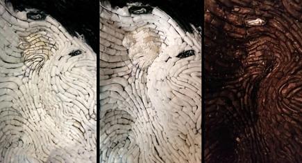 Eingravieren der Stuktur in die Gesichtsabdrücke/ dunkle Erstgrundierung