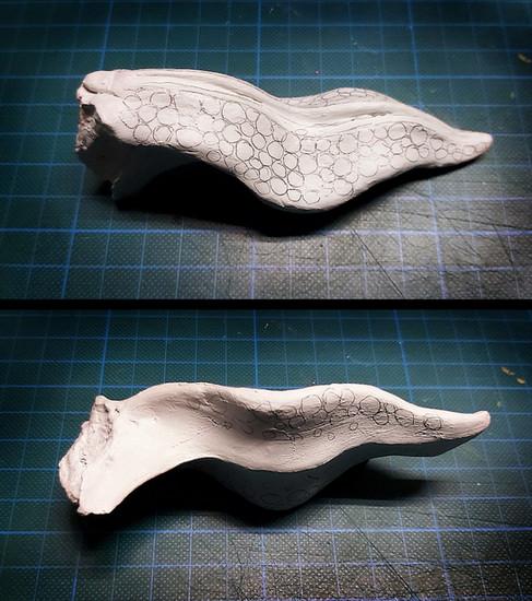 Weiteres Ausformen des Zungenrohlings mit Modelliermasse