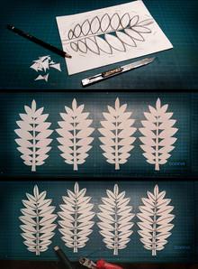 Blätterbau: Aufzeichnen und Ausschneiden der Blätterform aus Papier; Aufkleben von Stängeln und Verstrebungen aus Basteldraht