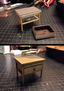 Building a small small wooden chest of drawers including a painted shadow on the top