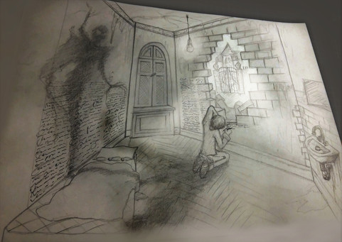 First concept sketch for the setup of the scene