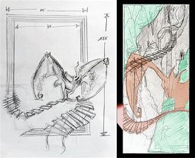Planungsskizzen zum Hintergrundrahmen und der Platzierung der Figur