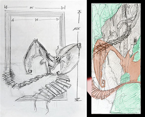 Planning sketches for the background frame and the positioning of the figure
