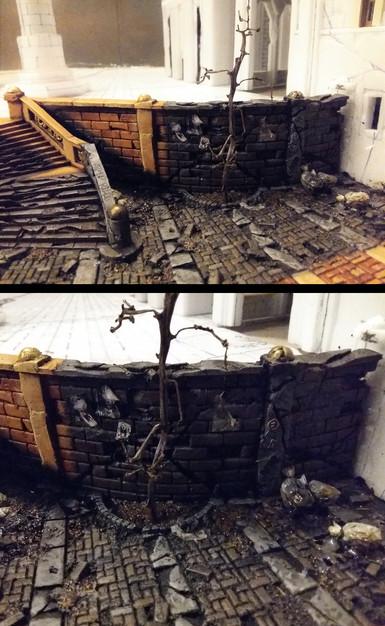 Ausarbeiten der Details in den verfallenen Schattenbereichen