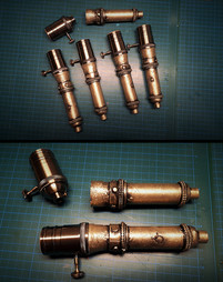 Gestaltung der Lampenfassungen: Verlängern der Fassungen mit passend bemalten, ausgestalteten Kartonröhren