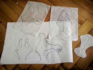 Erstellen einer Schablone (Kopf) auf Papier