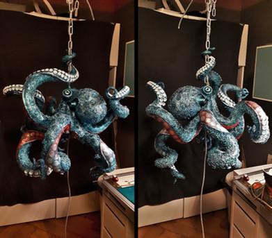 Zwischenstand: farblich grundierter Octopus mit bereits stellenweise fixierten Saugnäpfen