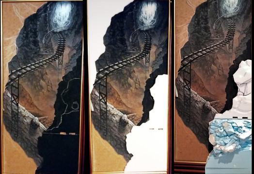 Aussparen der linken oberen und rechten unteren Ecke - diese werden dreidimensional gestaltet