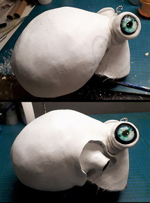 Modelling of the eye area and the gill exits with modelling clay