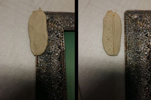 Making wall stucco: Imprints are taken from a patterned surface with modelling clay ...