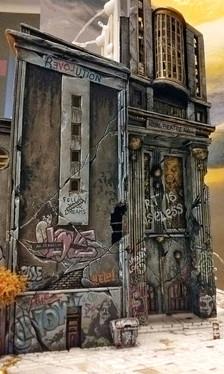 """Ausarbeitung des zweiten Gebäudes des linken Vordergrunds: Die verfallene """"Royal Theatre Hall"""""""