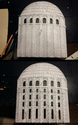 Background design: Engraving the form of a rund buildings facade in a polystyrene panel.