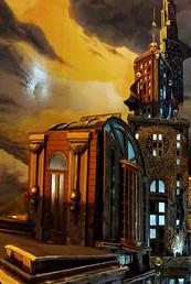 """Gemaltes Licht und Schattenspiel auf der Kuppel der """"Royal Theatre Hall"""""""