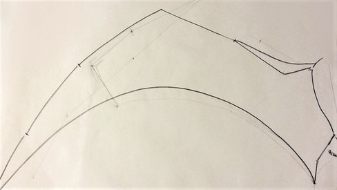 Template on paper for the wing shape
