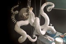 Zwischenstand: Octopuskopf mit drei fertigen Tentakelgrundformen