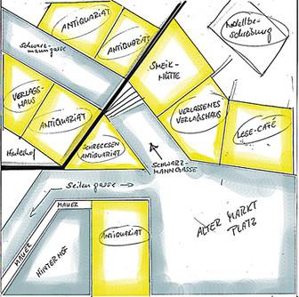 Planungsskizze der Oberstadt Buchhaim (über zwei Höhenebenen) inkl Häusern.