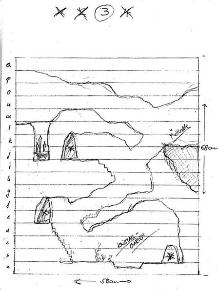 Grobe Planungsskizze zum Gangverlauf