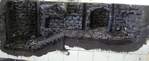 Grundierung und Bemalung der ersten (unteren) Gänge.