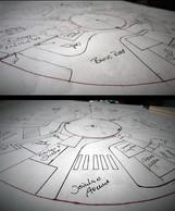 Erste Skizzen und Grundrisszeichnungen zum Modell und zur Stadt: