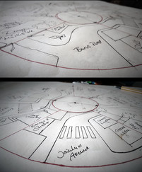 First sketches and floor plans of the model and the city: