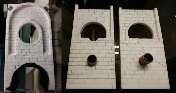 Bau der Seitengänge und Wände: