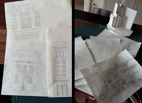 Erste Entwürfe zu Gebäuden und Architektur