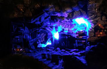 Beleuchtungstest: Eingeschaltete Lichterkette mit Leuchtquallen