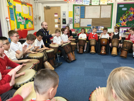 African drumming in Year 3