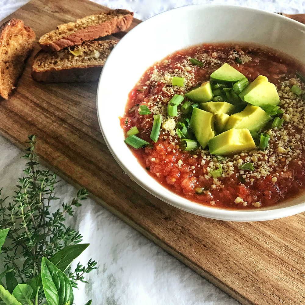 Tomato gazpacho from Dietitian Nourished by Bri