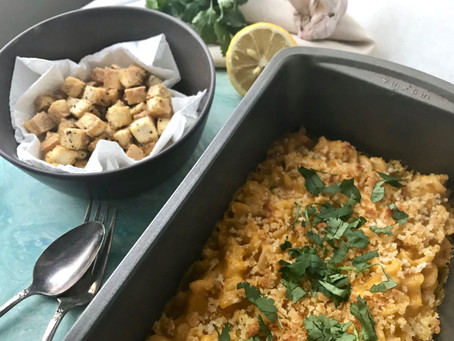 Baked Vegan Mac N' Cheese with Peppered Tofu Cubes