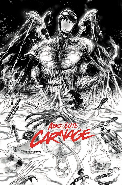 ABSOLUTE CARNAGE #1 TYLER KIRKHAM B&W VARIANT