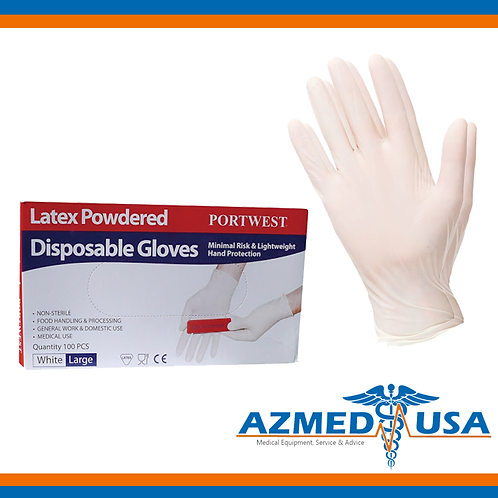 PORTWEST Latex Gloves - M size