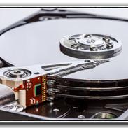 Inside a computer hard drive_