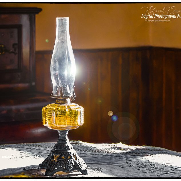 Oil Lamp on Table