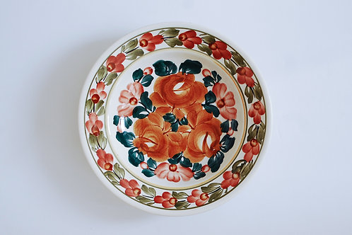 ピンクと茶の花柄スープ皿