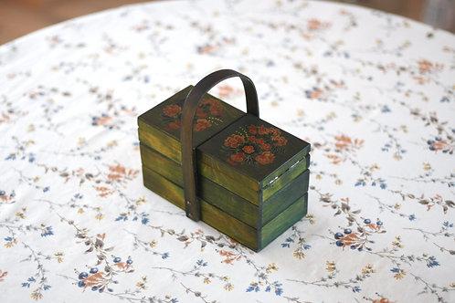 緑の花束のお裁縫箱(小)