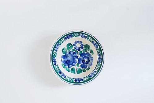 青と緑の花柄小皿