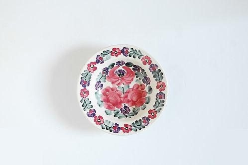 赤いバラの小皿(中)