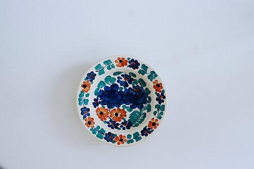 青とオレンジの花柄小皿(中)