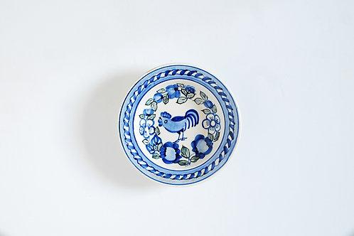 青いにわとりの小皿