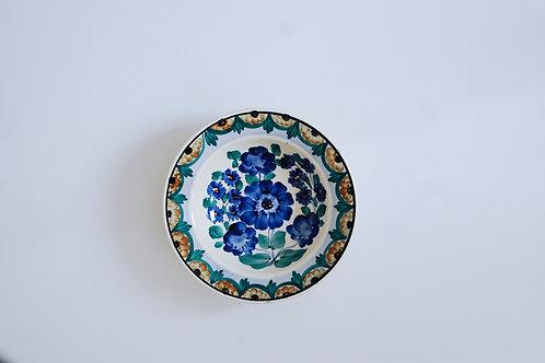 青と茶の花の小皿(中)