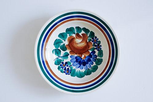 茶と青の花柄スープ皿
