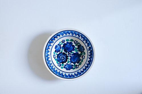 青と緑の花柄小皿(中)