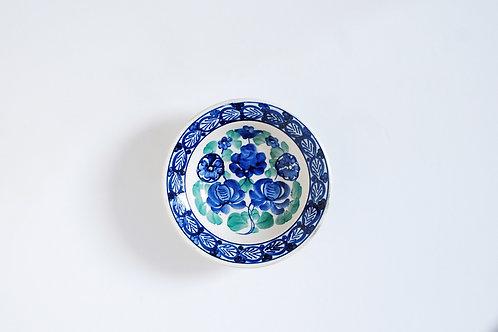 青と緑の花の小皿
