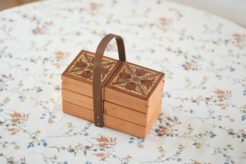 チューリップ模様のお裁縫箱(小)