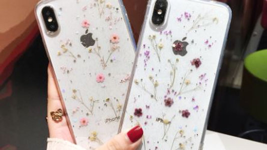 Real Dried Flowers Transparent Soft Cover For iPhone