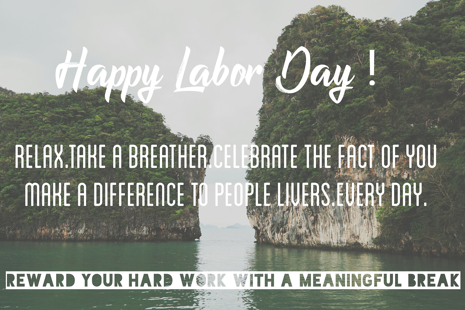 White word Happy Labor Day on ocean text