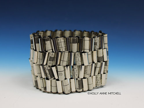 Recycled Newspaper Crossword Puzzle Bracelet by Holly Anne Mitchell