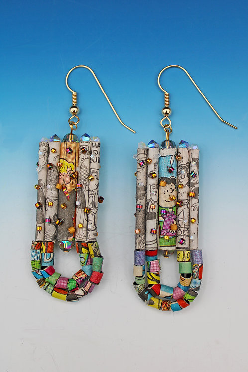 Recycled Newspaper Comic Strip Earrings by Holly Anne Mitchell