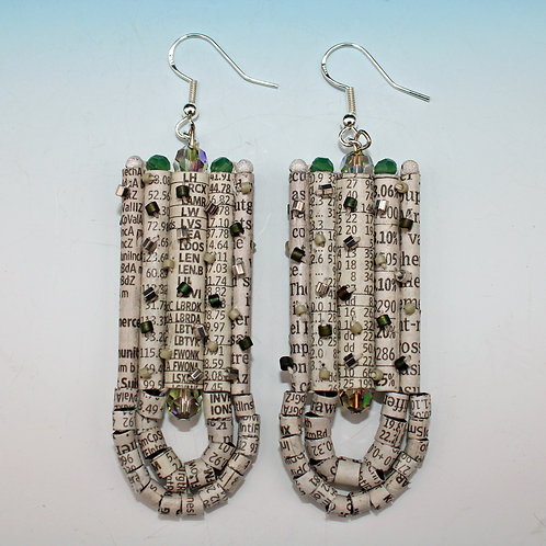 Recycled Newspaper Stock Listing Earrings by Holly Anne Mitchell